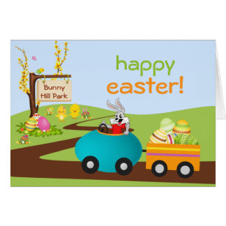 Easter Bunny and Egg Cart Greeting Card