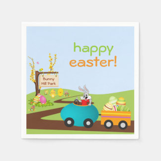 Easter Bunny and Egg Cart Paper Napkins