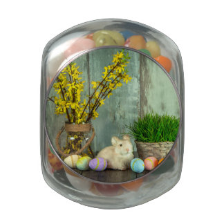 Easter Bunny and Egg Scene Glass Candy Jar