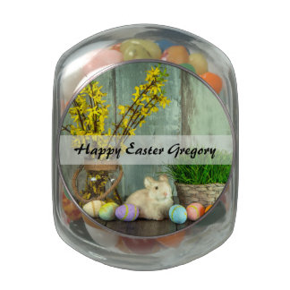 Easter Bunny and Egg Scene Glass Jar