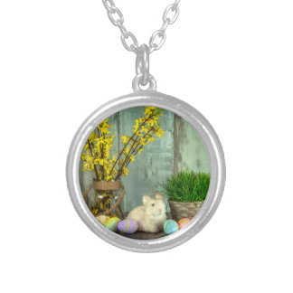Easter Bunny and Egg Scene Silver Plated Necklace