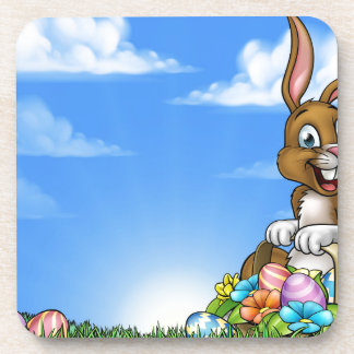 Easter Bunny and Eggs Background Coaster