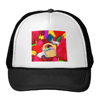 Easter bunny and eggs basket trucker hat