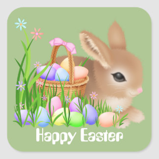 Easter party gifts on zazzle easter bunny and eggs holiday party sticker negle Image collections