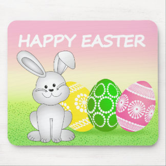 EASTER BUNNY AND EGGS, ILLUSTRATION HAPPY EASTER MOUSE PAD
