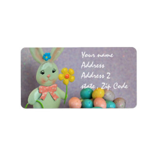 Easter bunny and eggs label