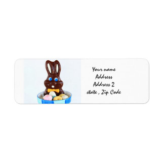 Easter bunny and eggs labels