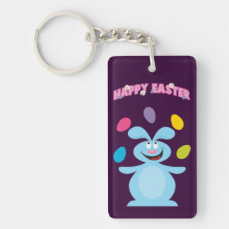 Easter Bunny and Eggs Personalized Keychain