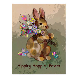 Easter bunny and eggs postcard