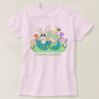 Easter bunny and eggs womens t-shirt