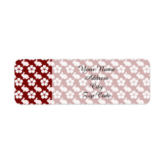 Easter bunny and flower pattern label