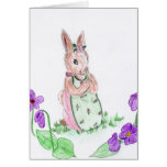 Easter Bunny and Flowers Greeting Card