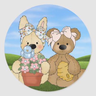 Easter Bunny and Friend Classic Round Sticker