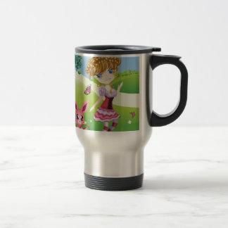 Easter Bunny and Girl Travel Mug