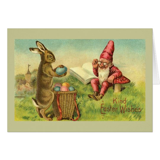 Easter Bunny And Gnome Vintage Greeting Card