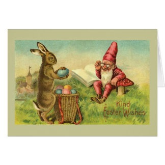 Easter Bunny And Gnome Vintage Stationery Note Card