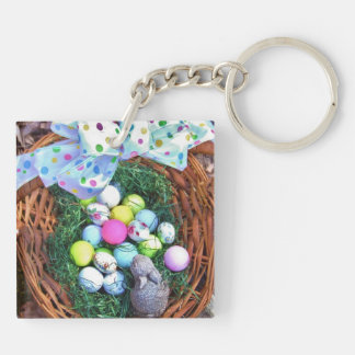 Easter bunny and golf ball basket square acrylic key chain