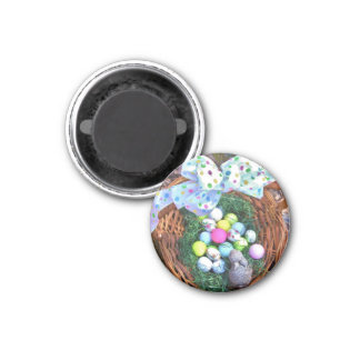 Easter bunny and golf ball basket refrigerator magnets