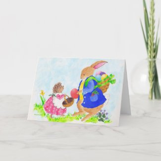 Easter bunny and Heddy hedgehog card