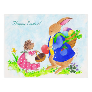 Easter bunny and Heddy hedgehog Postcard