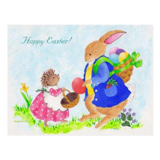 Easter bunny and Heddy hedgehog Postcard