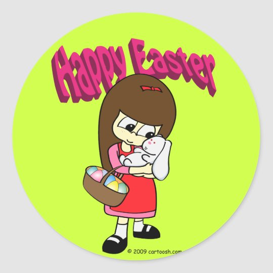 Easter Bunny and The Girl Classic Round Sticker