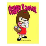 Easter Bunny and The Girl Postcard