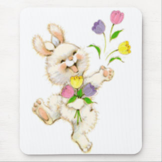 Easter Bunny And Tulips Mouse Pad