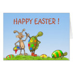 easter bunny and turtles greeting card