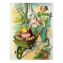 Easter Bunny Antique Post Card Wheel Barrow Chicks