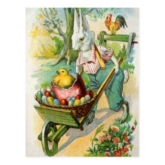 Easter Bunny Antique Post Card Wheel Barrow Chicks