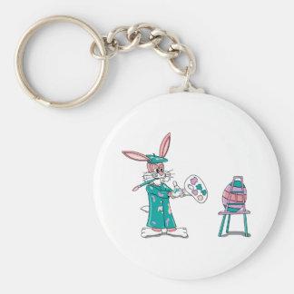 Easter Bunny Artist Basic Round Button Keychain