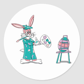 Easter Bunny Artist Round Stickers