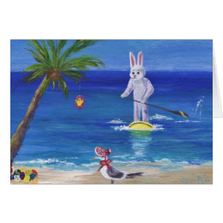 Easter Bunny at the Beach Card