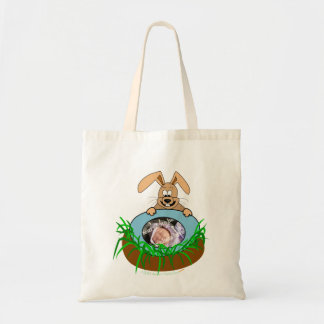 Easter Bunny Baby Announcement Photo Template Tote Bag
