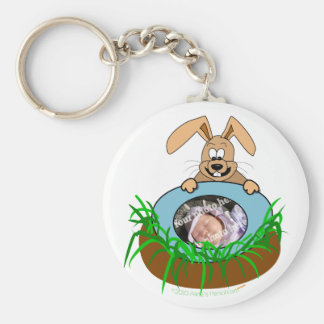 Easter Bunny Baby Announcement Photo Template Basic Round Button Keychain
