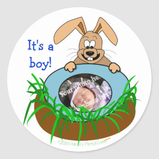 Easter Bunny Baby Announcement Photo Template Classic Round Sticker