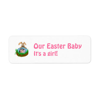 Easter Bunny Baby Announcement Photo Template Return Address Labels