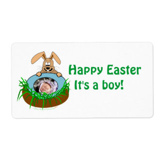 Easter Bunny Baby Announcement Photo Template Shipping Label
