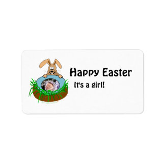 Easter Bunny Baby Announcement Photo Template Personalized Address Labels