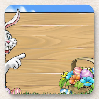 Easter Bunny Background Sign Coaster