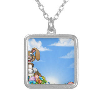 Easter Bunny Background Silver Plated Necklace