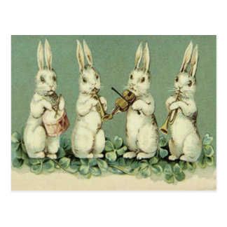 Easter Bunny Band Drum Trumpet Violin Shamrock Postcard