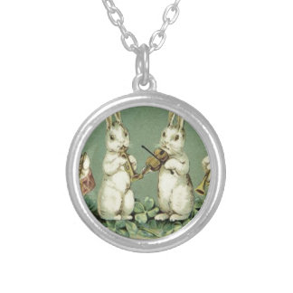 Easter Bunny Band Drum Trumpet Violin Shamrock Silver Plated Necklace