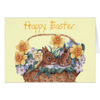 Easter Bunny Basket Card (Fully Customizable)