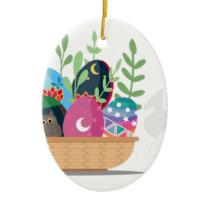 easter bunny basket ceramic ornament