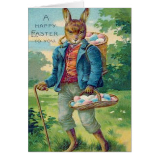 Easter Bunny Basket Colored Egg Card