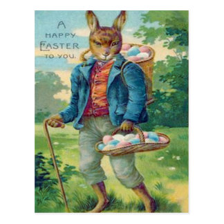 Easter Bunny Basket Colored Egg Postcard