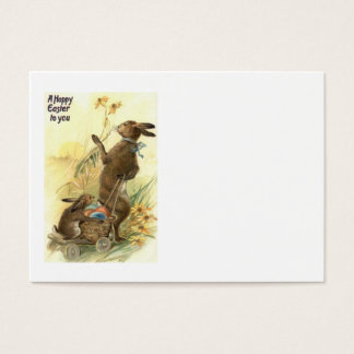 Easter Bunny Basket Colored Egg Sun Flower Field Business Card