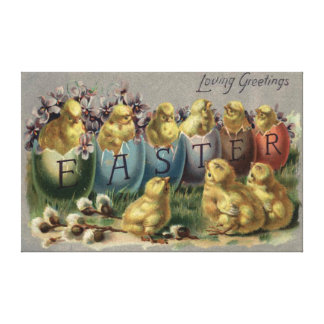 Easter Bunny Basket Colored Egg Sun Flower Field Canvas Print